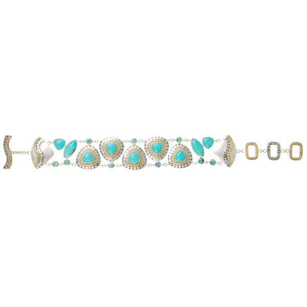 Sterling Silver and 22 Karat Yellow Gold Vermeil Bracelet with Turquoise and Baby Blue Topaz Bluestone Jewelry Tahoe City, CA