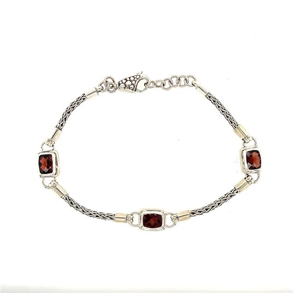 Sterling Silver Bracelet with Rhodolite Garnet- 7 Inches Bluestone Jewelry Tahoe City, CA