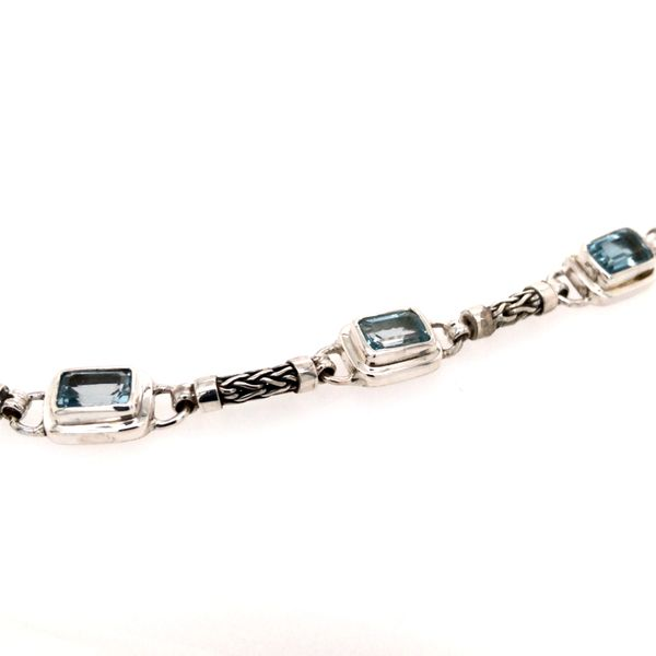 Sterling Silver Bracelet with Three Emerald Cut Blue Topazes- 7.5 Inches Image 2 Bluestone Jewelry Tahoe City, CA