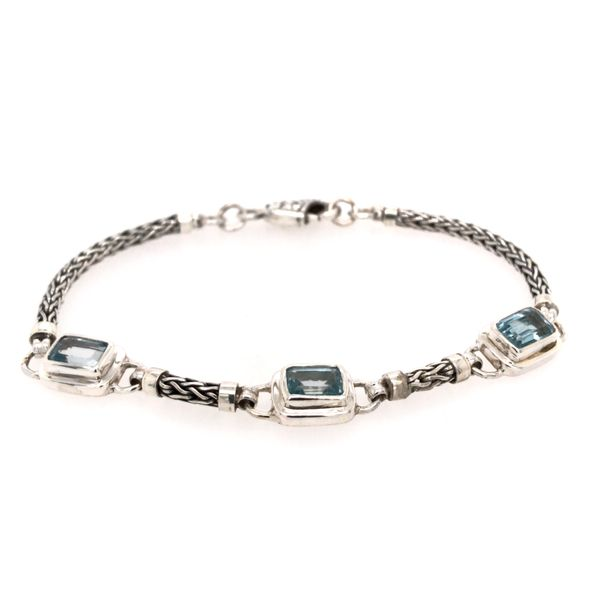 Sterling Silver Bracelet with Three Emerald Cut Blue Topazes- 7.5 Inches Bluestone Jewelry Tahoe City, CA