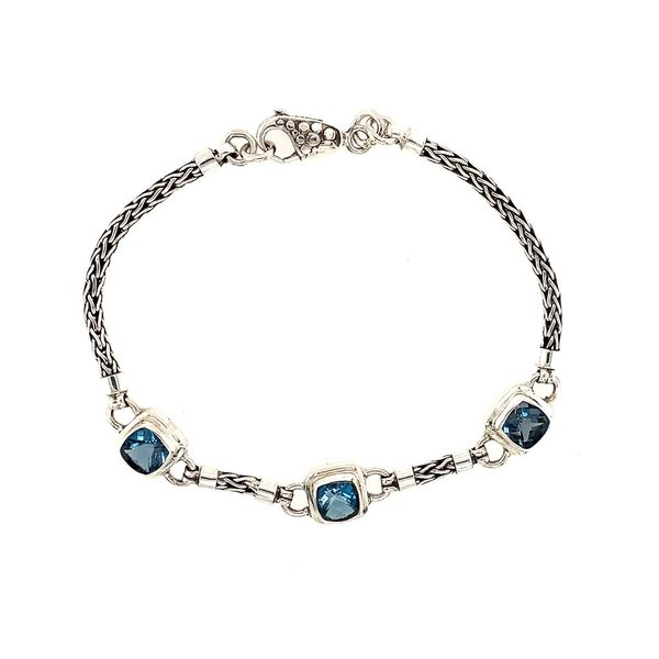 Sterling Silver Bracelet with London Blue Topazes- 7.75 Inches Bluestone Jewelry Tahoe City, CA