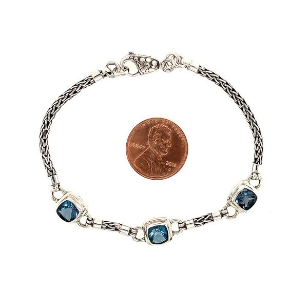 Sterling Silver Bracelet with London Blue Topazes- 7 Inches Image 2 Bluestone Jewelry Tahoe City, CA
