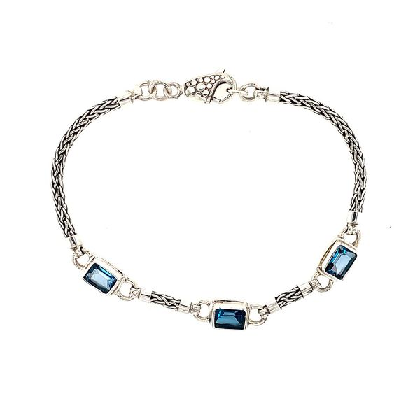 Sterling Silver Bracelet with London Blue Topazes- 7.5 Inches Bluestone Jewelry Tahoe City, CA