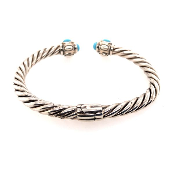 Silver & Gold Small Cable Bracelet with Turquoise Image 3 Bluestone Jewelry Tahoe City, CA