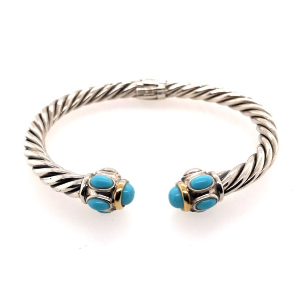 Silver & Gold Small Cable Bracelet with Turquoise Bluestone Jewelry Tahoe City, CA