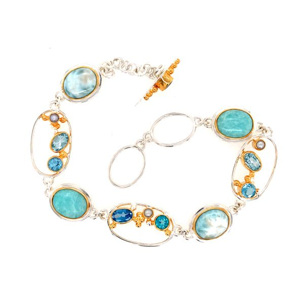 Silver & 22kt YG Bracelet with Topazs, Pearls & Larimar- 7.5