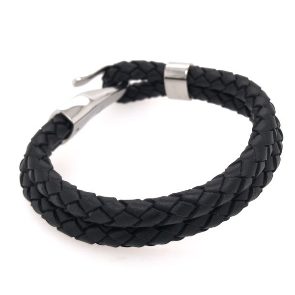 Black Leather Bracelet with Hook Clasp- 8 inches Image 2 Bluestone Jewelry Tahoe City, CA
