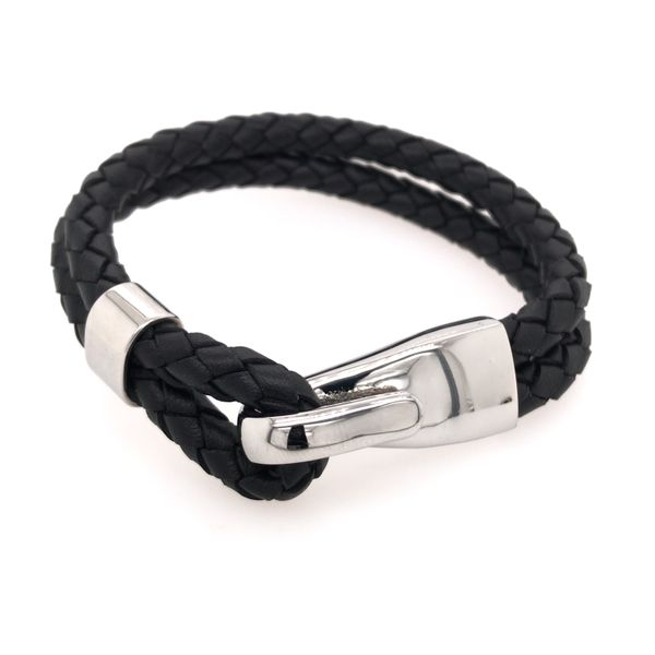 Black Leather Bracelet with Hook Clasp- 8 inches Bluestone Jewelry Tahoe City, CA
