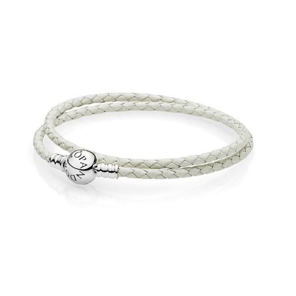 White Leather Wrap Bracelet- 6.3
