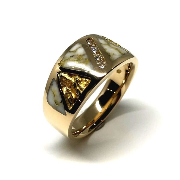 14 Karat Yellow Ring with Gold Quartz, Nuggets and Diamonds Image 2 Bluestone Jewelry Tahoe City, CA