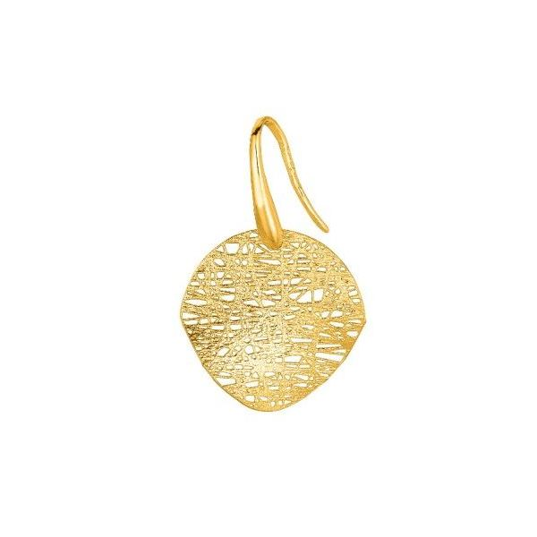 14kt Yellow Gold Curved Disc Textured Earrings Image 4 Bluestone Jewelry Tahoe City, CA