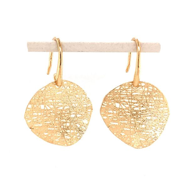 14kt Yellow Gold Curved Disc Textured Earrings Bluestone Jewelry Tahoe City, CA