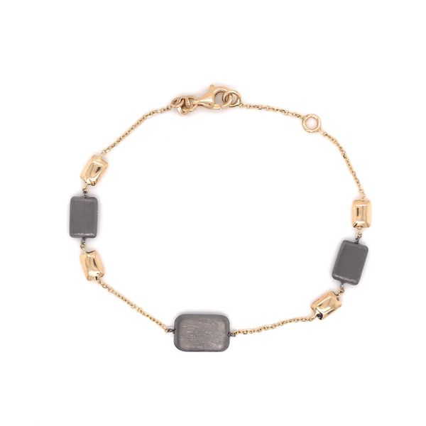 14K Yellow Gold Elegant Link Bracelet w/ Beads (Black Rhodium) Image 2 Bluestone Jewelry Tahoe City, CA