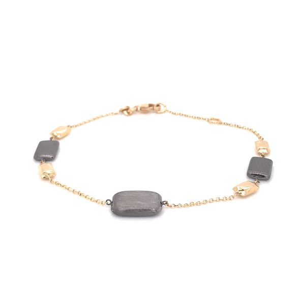 14K Yellow Gold Elegant Link Bracelet w/ Beads (Black Rhodium) Bluestone Jewelry Tahoe City, CA