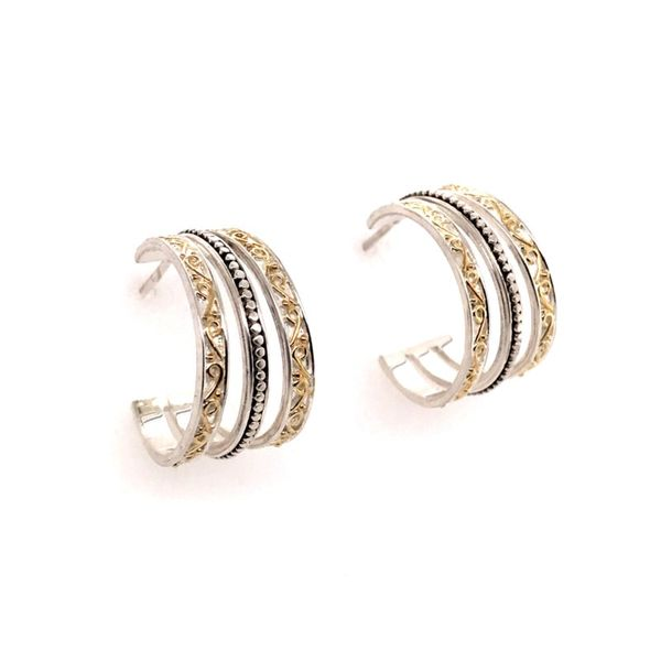 Sterling Silver & 22 Karat YG Hoop Earrings Image 2 Bluestone Jewelry Tahoe City, CA