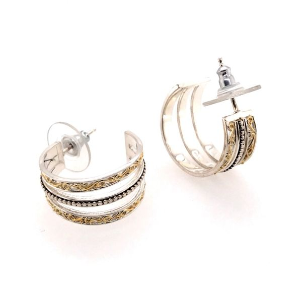 Sterling Silver & 22 Karat YG Hoop Earrings Image 3 Bluestone Jewelry Tahoe City, CA