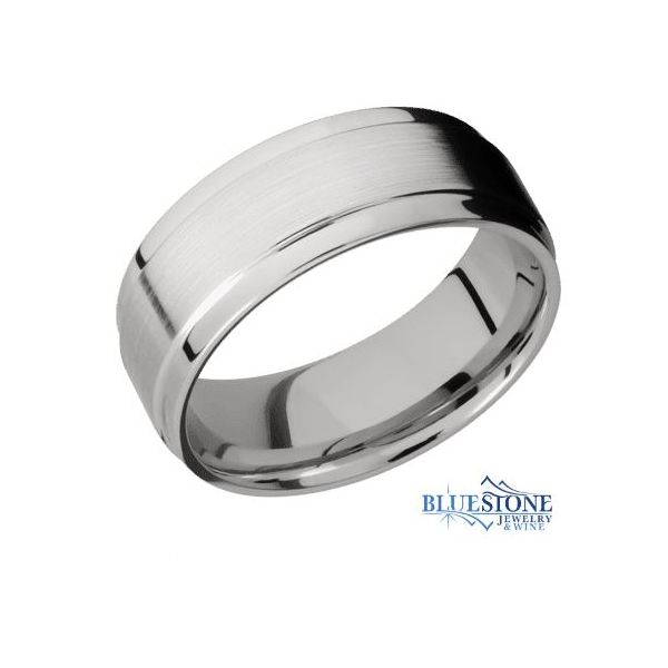 8mm Cobalt Band with Flat Grooved Edges(Satin Middle/Polish Edges) Bluestone Jewelry Tahoe City, CA