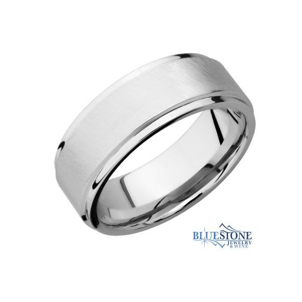 8mm Cobalt Band with Flat Grooved Edges (Angle Satin Middle/Polished Edges) Bluestone Jewelry Tahoe City, CA