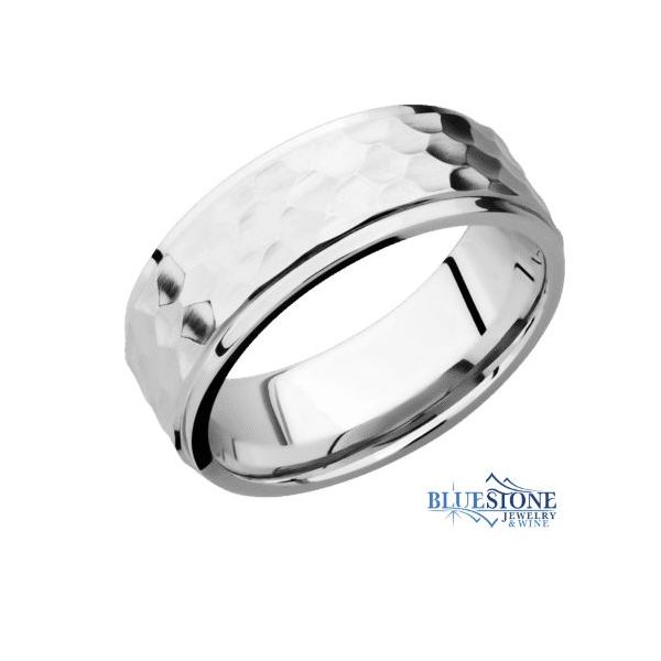 8mm Cobalt Band with Flat Grooved Edges (Hammer Middle/Polished Edges) Bluestone Jewelry Tahoe City, CA