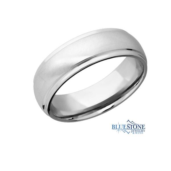 8mm Cobalt Band with Flat Grooved Edges (Bead Middle/Polished Edges) Bluestone Jewelry Tahoe City, CA