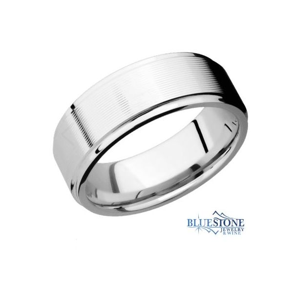 8mm Cobalt Band w/ a Treebark Hammered Middle & Flat Grooved Polished Edges Bluestone Jewelry Tahoe City, CA