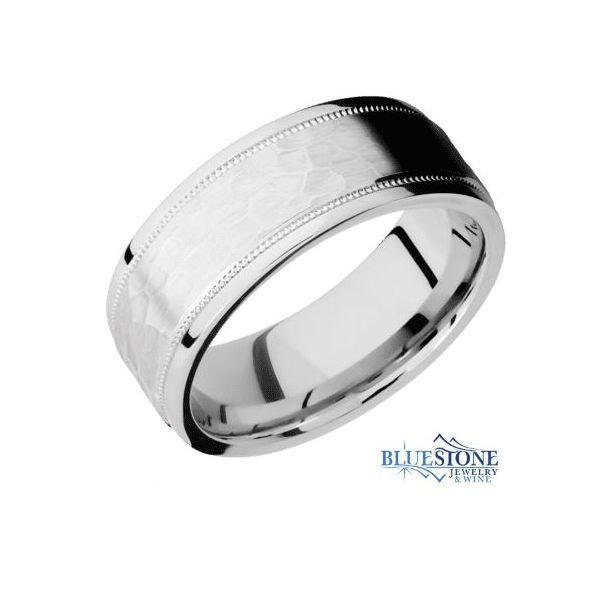 7.5mm Cobalt Band w/ a Hammered Middle & Flat Stepped Polished Milgrain Edges Bluestone Jewelry Tahoe City, CA