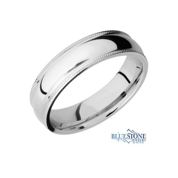 6mm Cobalt Domed Band w/ Polished Middle & Milgrain Edges Bluestone Jewelry Tahoe City, CA