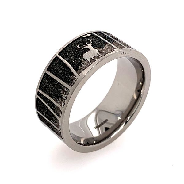 Titanium 9mm Band w/ an elk & mountain background Image 3 Bluestone Jewelry Tahoe City, CA