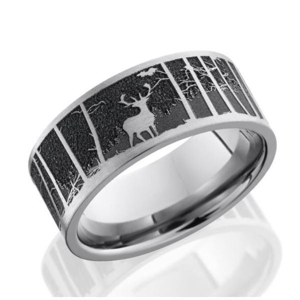 Titanium 9mm Band w/ an elk & mountain background Bluestone Jewelry Tahoe City, CA