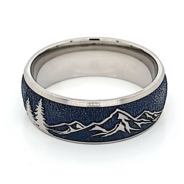 8 mm wide/Domed/Titanium band with a laser carved Mountain 2 pattern. Navy Blue Bluestone Jewelry Tahoe City, CA