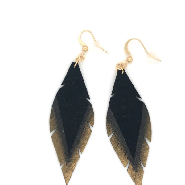 Hand Painted Leather Feathers Wire Earrings Bluestone Jewelry Tahoe City, CA