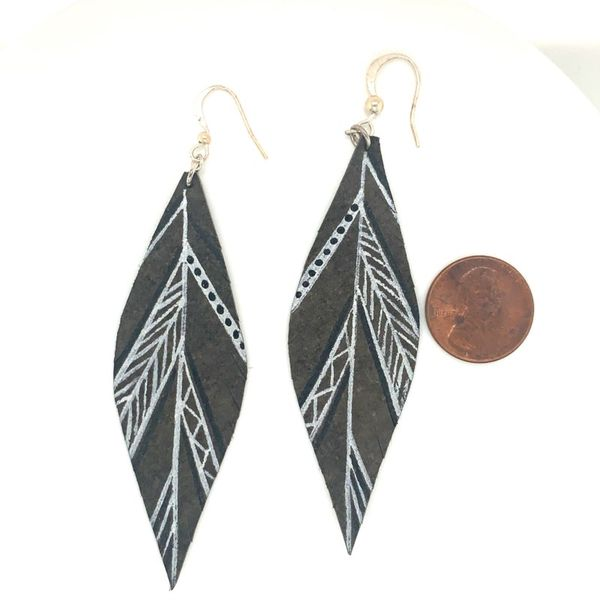 Hand Painted Leather Feathers Wire Earrings Image 2 Bluestone Jewelry Tahoe City, CA