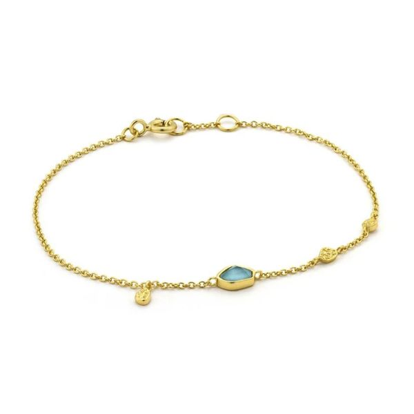 Sterling Silver with 14 Karat Yellow Gold Plating Bracelet with Turquoise Bluestone Jewelry Tahoe City, CA