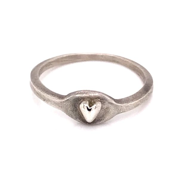 Center Heart Ring in Sterling Silver with Brushed Finish Bluestone Jewelry Tahoe City, CA
