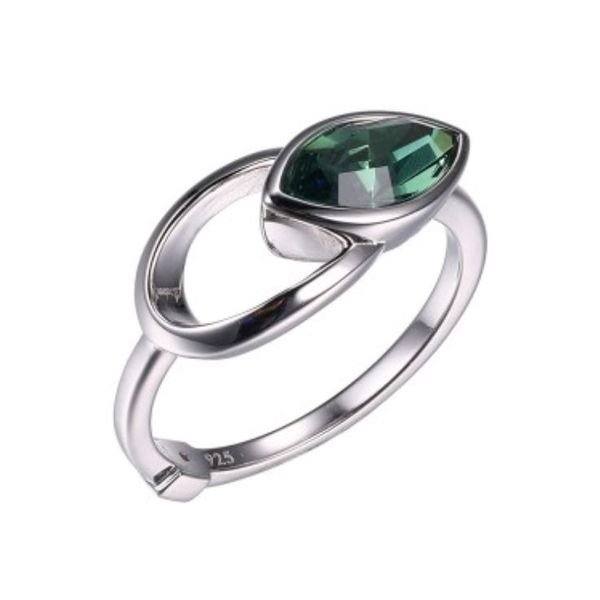 Silver Ring with Green Swarovski Erinite- Size 7 Bluestone Jewelry Tahoe City, CA