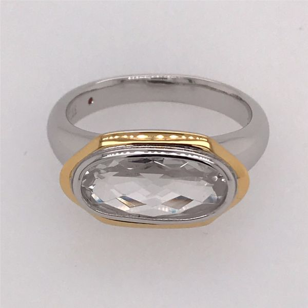 Silver & Gold Ring with CZ and Ruby- size 9 Image 2 Bluestone Jewelry Tahoe City, CA