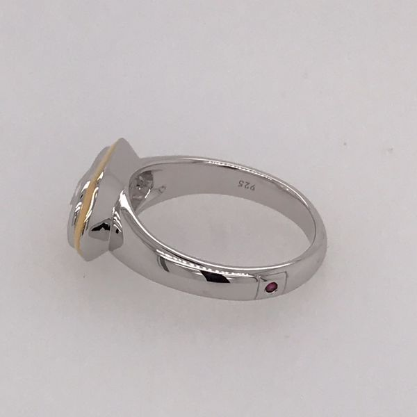 Silver & Gold Ring with CZ and Ruby- size 9 Image 4 Bluestone Jewelry Tahoe City, CA