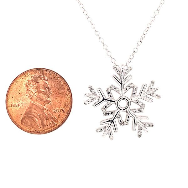 Sterling Silver Diamond Snowflake Pendant with Chain Image 2 Bluestone Jewelry Tahoe City, CA