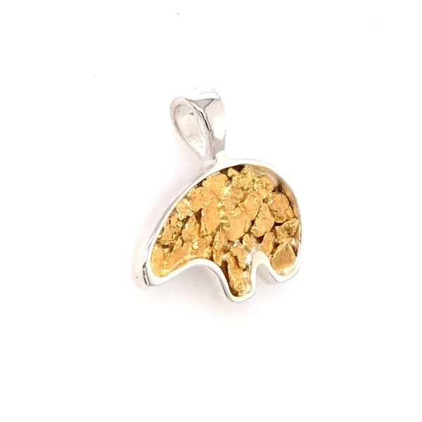Large Sterling Silver California Bear Pendant with Gold Nuggets Image 2 Bluestone Jewelry Tahoe City, CA