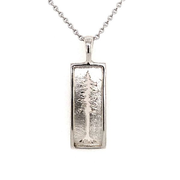 Small Sterling Silver Large Redwood Tree Pendant on an 18