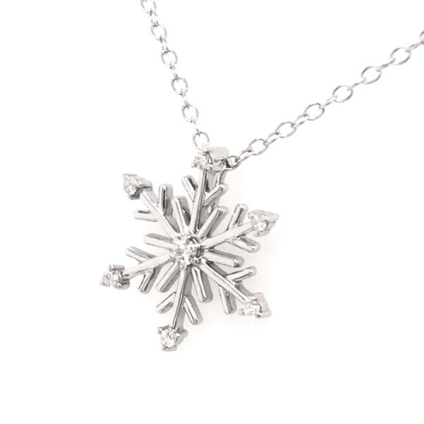 Sterling Silver and Diamond Snowflake Pendant with Chain Image 2 Bluestone Jewelry Tahoe City, CA