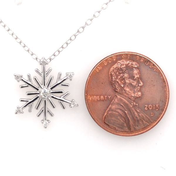 Sterling Silver and Diamond Snowflake Pendant with Chain Image 3 Bluestone Jewelry Tahoe City, CA