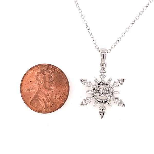Sterling Silver Snowflake Diamond Pendant Featuring One Hovering Center Diamond and Chain Image 2 Bluestone Jewelry Tahoe City, CA