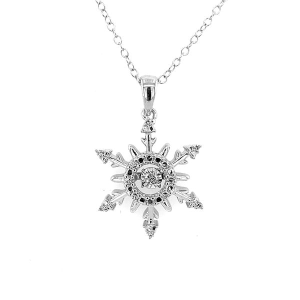Sterling Silver Snowflake Diamond Pendant Featuring One Hovering Center Diamond and Chain Bluestone Jewelry Tahoe City, CA