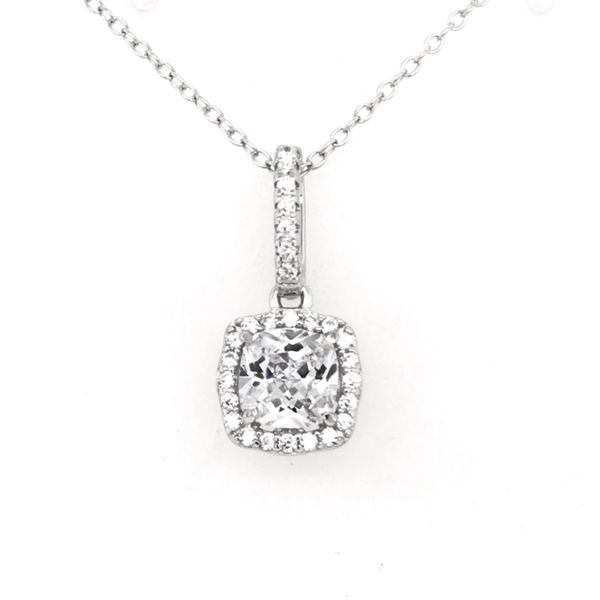 Sterling Silver Rhodium-plated Pendant with CZs and Chain Bluestone Jewelry Tahoe City, CA
