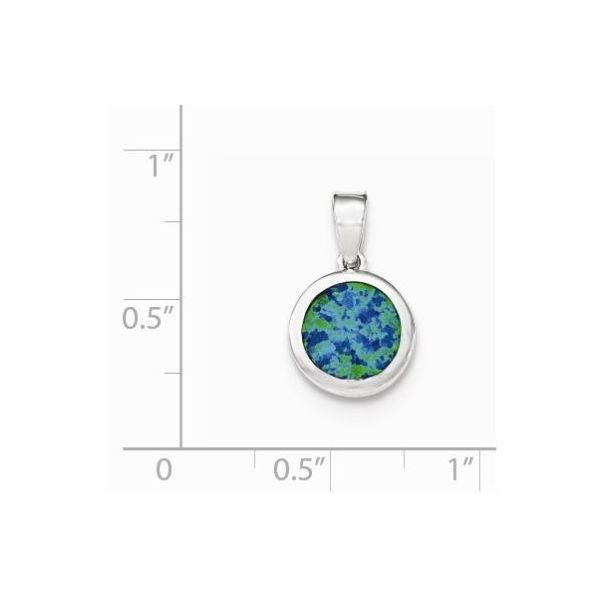 Silver Rhodium-plated Synthetic Opal Pendant Image 2 Bluestone Jewelry Tahoe City, CA
