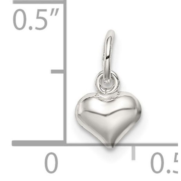 Mini Sterling Silver Polished Puff Heart Charm Image 3 Bluestone Jewelry Tahoe City, CA