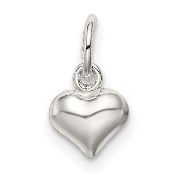 Mini Sterling Silver Polished Puff Heart Charm Bluestone Jewelry Tahoe City, CA