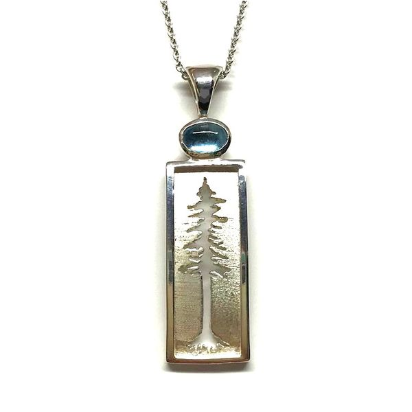 Medium Sterling Silver Redwood Tree Pendant with one Cabochon Blue Topaz Bluestone Jewelry Tahoe City, CA