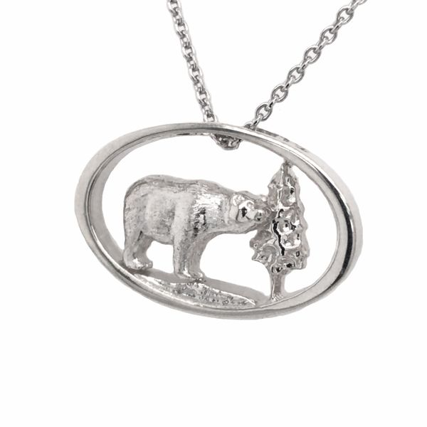 Sterling Silver Bear and Tree Pendant on an 18
